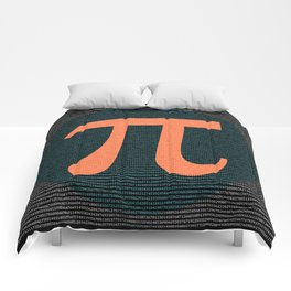 First 10,000 digits of Pi, blue and orange. Comforters
