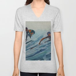 African American Surfers, Honolulu, Hawaii landscape painting by Fred Soldwedel Unisex V-Neck