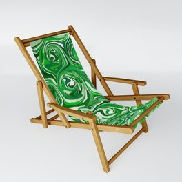 Emerald Green, Green Apple, and White Paint Swirls Sling Chair