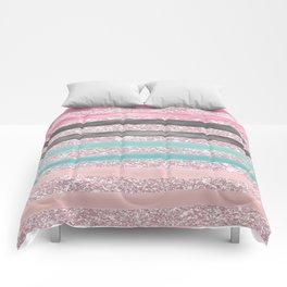 Geometric watercolor pink teal blush glitter Comforters