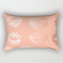 Sweet Life Lips Peach Coral Pink Shimmer Rectangular Pillow