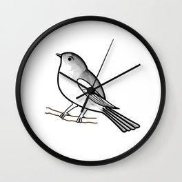 Cute bird on a twig- Tiny sparrow drawing in shades of grey Wall Clock