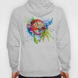 Bright Colored Aquarium Fish, Aquatic Beach Design Discus Hoody