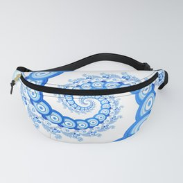 Chinese Sky Blue and Cloud White Tentacle Spiral Fanny Pack