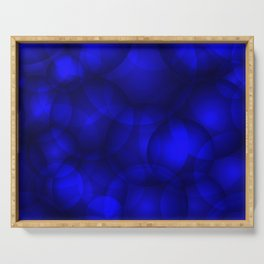 Glowing blue soap circles and volume sea bubbles of air and water. Serving Tray