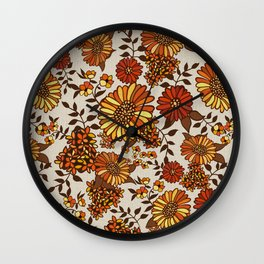 Retro 70s boho hippie orange flower power Wall Clock