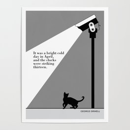 George Orwell, 1984, cat art literary quote Poster