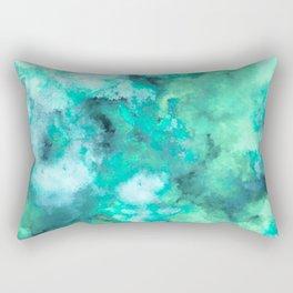 Abstract Art Pour - Green and Aqua Palette Rectangular Pillow