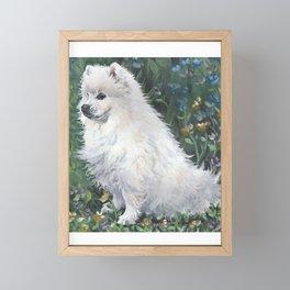 American Eskimo Dog Fine Art Dog Painting by L.A.Shepard Framed Mini Art Print