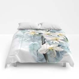 White daffodils Comforters