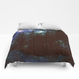 Galaxy Forest Deep Dark Blue & Green Comforters