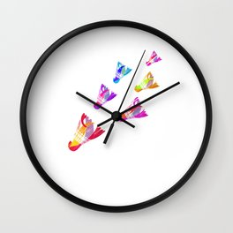 Shuttlecocks Colorful Badminton Sports Serve Racquet Court Racket Rally Gift Wall Clock