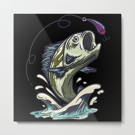 Bass Jumps To The Fish Hook Metal Print