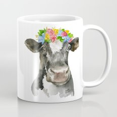 Black and White Cow with Floral Crown Watercolor Painting Mug