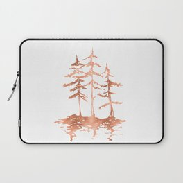 Three Sisters Trees Rose Gold on White Laptop Sleeve