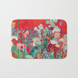 Red floral Jungle Garden Botanical featuring Proteas, Reeds, Eucalyptus, Ferns and Birds of Paradise Bath Mat
