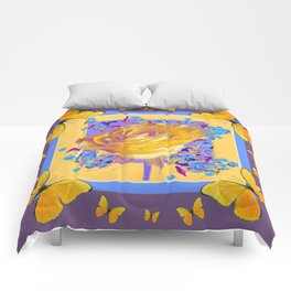 YELLOW BUTTERFLIES ART ROSE FLOWERS PUCE Comforters