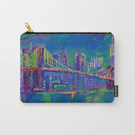New York City Night Lights - palette knife painting urban Brooklyn bridge skyline Carry-All Pouch