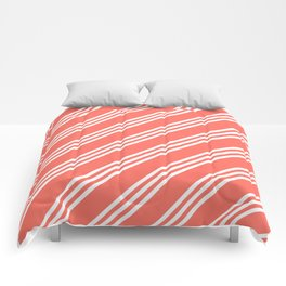 Living Coral Large Small/Small Stripes Comforters