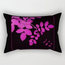 Uber Bright Pink Leaves on Black Rectangular Pillow