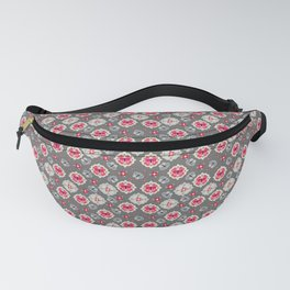 Butterfly And Flower Medallions - Graphite Color Fanny Pack