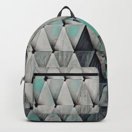Textured Triangles Teal Gray Backpack