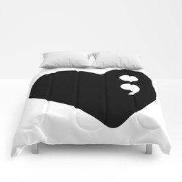 Semicolon Heart for mental health awareness Comforters
