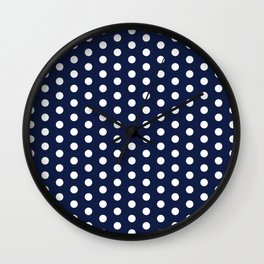 Navy Blue Polka Dot Wall Clock