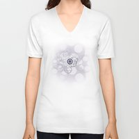 """casablanca V-neck T-shirts featuring """"As Time Goes By"""" - black and white vector artwork by Nicole Cleary"""