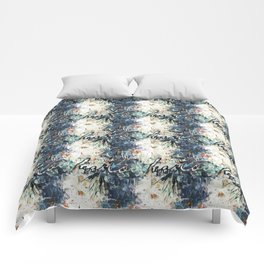 Happy Love Heart Family Pattern Blue Pastel Abstract Comforters
