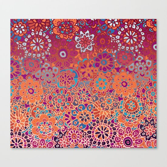 Psychedelic Ombre Flower Doodle Canvas Print