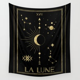 The Moon or La Lune Gold Edition Wall Tapestry