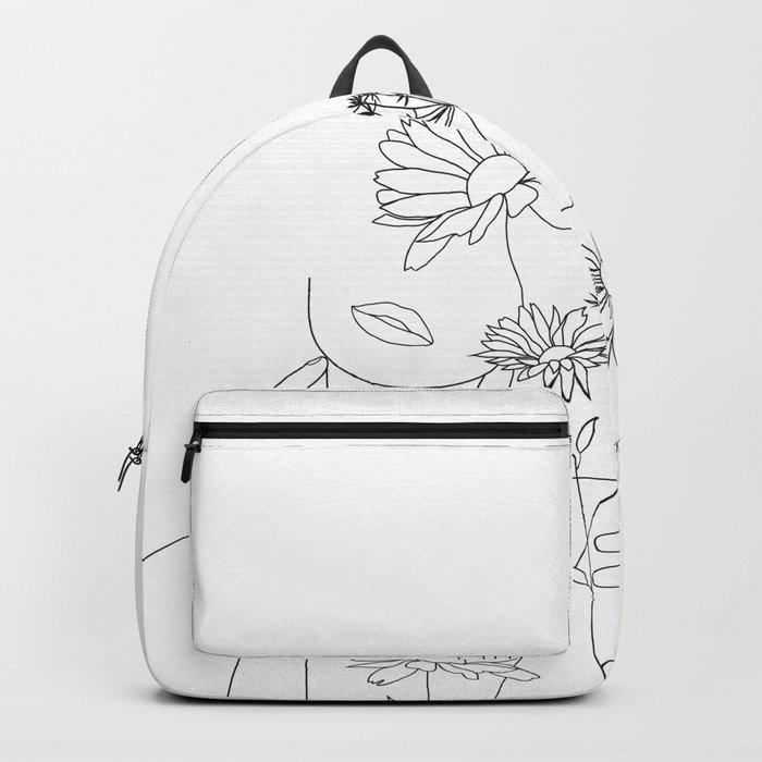 Minimal Line Art Woman with Flowers III Backpack