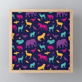 Colorful Wild Animal Silhouette Pattern Framed Mini Art Print