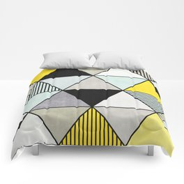 Colorful Concrete Triangles 2 - Yellow, Blue, Grey Comforters
