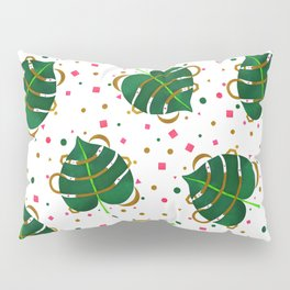 Monstera Leaves with Gold Pink and Green Geometric Confetti Pillow Sham