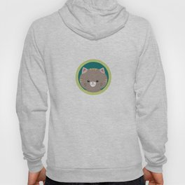 Cute tiger kitty with green circle Hoody