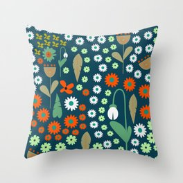 Floral field with snowdrops Throw Pillow