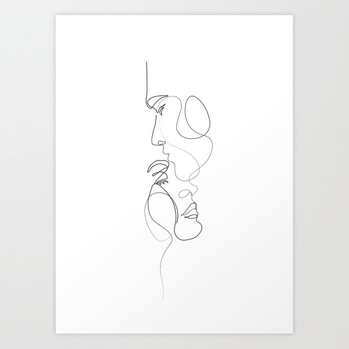 Lovers - Minimal Line Drawing Art Print 2 Art Print