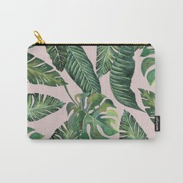 Jungle Leaves, Banana, Monstera Pink #society6 Carry-All Pouch