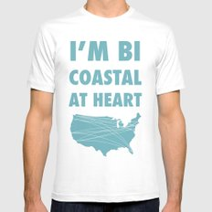 Bicoastal At Heart MEDIUM Mens Fitted Tee White