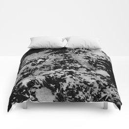 Black gray watercolor abstract brushstrokes paint Comforters