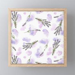 Watercolour Lavender - repeat floral pattern Framed Mini Art Print