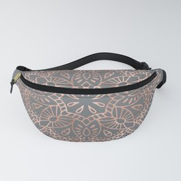 Mandala Rose Gold Pink Shimmer on Soft Gray by Nature Magick Fanny Pack