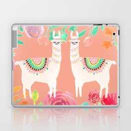 Llama in a floral frame Laptop & iPad Skin