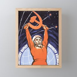 Russian Soviet CCCP Space Program Flag Poster Framed Mini Art Print