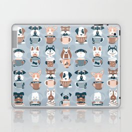 Doggie Coffee and Tea Time I // blue grey Laptop & iPad Skin