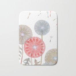 Red dandelions, watercolor Bath Mat
