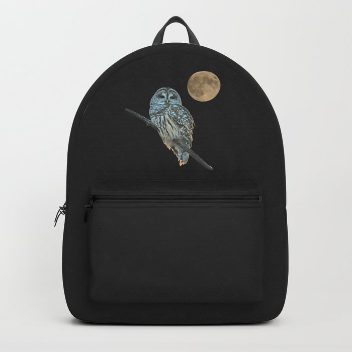 Owl, See the Moon (sq Barred Owl) Backpack