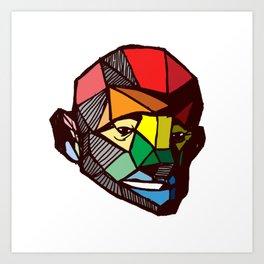 geometric rainbow face Art Print